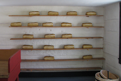 shelves of bread